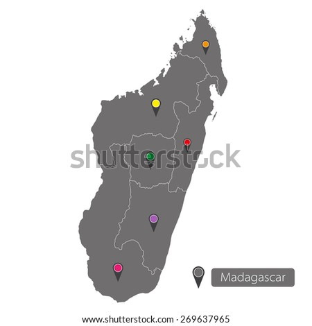 Madagascar map with regions on white background
