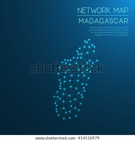 Madagascar network map. Abstract polygonal map design. Internet connections vector illustration. - stock vector