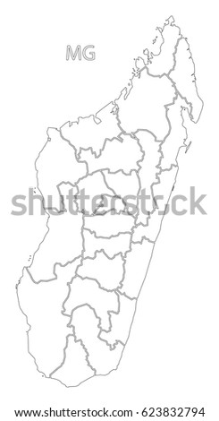 Madagascar Outline Silhouette Map Illustration Regions Stock - Madagascar map outline