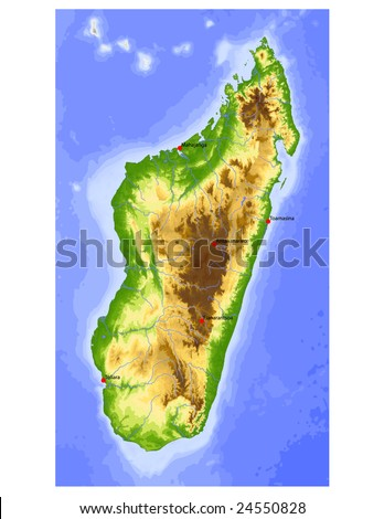 Madagascar. Physical vector map, colored according to elevation, with rivers and selected cities. Surrounding territory greyed out. 59 named layers, fully editable. Data source: NASA - stock vector