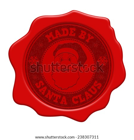 Made by Santa Claus red wax seal isolated on white background, vector illustration - stock vector