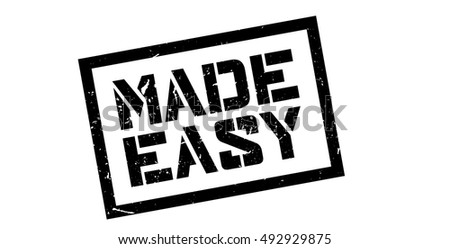 Made Easy rubber stamp on white. Print, impress, overprint.