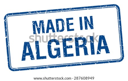 made in Algeria blue square isolated stamp