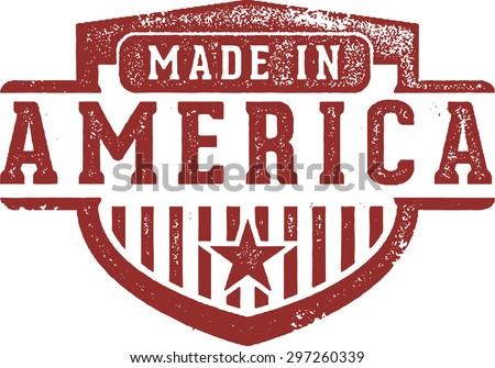 Made in America Crest Rubber Stamp - stock vector