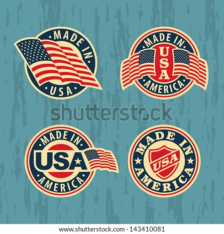 Made in America - set of badges and labels. EPS 8, CMYK - stock vector
