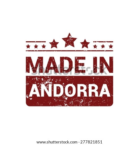 made in Andorra. Red Grunge rubber stamp design isolated on white background. vector illustration vintage texture.