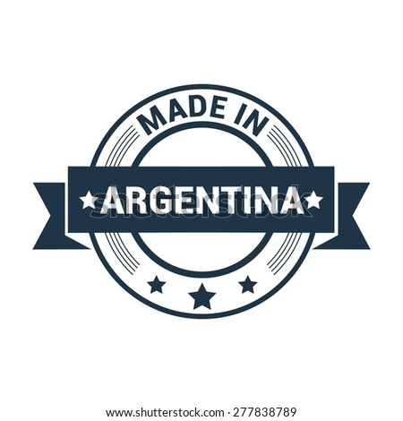 Made in Argentina. Round blue rubber stamp design isolated on white background. vector illustration vintage texture. - stock vector