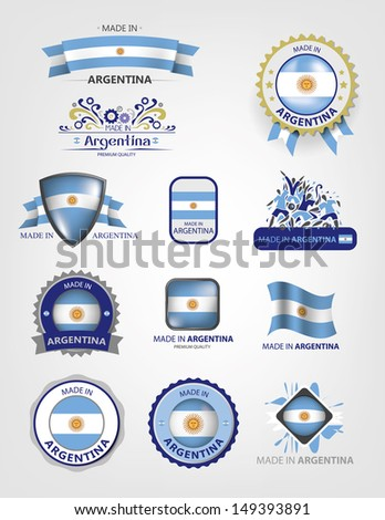 Made in Argentina, Seals, Flags Collection (Vector) - stock vector