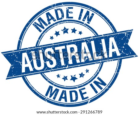 made in Australia blue round vintage stamp - stock vector