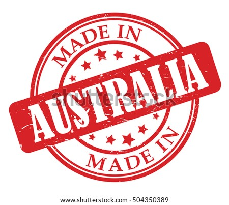 Made in Australia red round stamp
