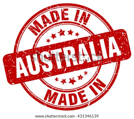 made in Australia red round vintage stamp.Australia stamp.Australia seal.Australia tag.Australia.Australia sign.Australia.Australia label.stamp.made.in.made in. - stock vector
