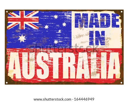Made in Australia rusty old enamel sign  - stock vector