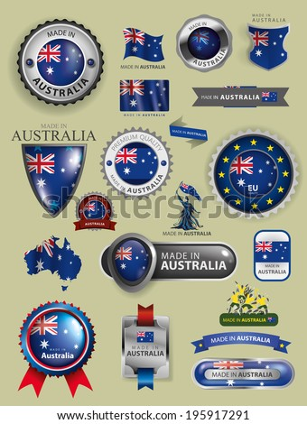 made in Australia Seals, Australian Icons, Flag and Map (vector Art) - stock vector