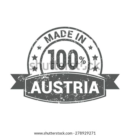 Made in Austria - Round gray grunge rubber stamp design isolated on white background. vector illustration vintage texture. - stock vector