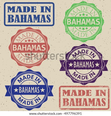 made in Bahamas vintage stamp Set vector illustration.