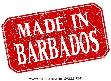 made in Barbados red square grunge stamp