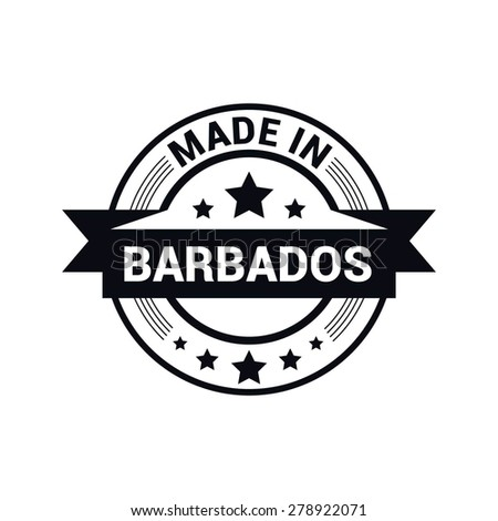Made in Barbados - Round black rubber stamp design isolated on white background. vector illustration vintage texture. - stock vector