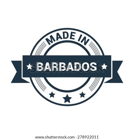 Made in Barbados - Round blue rubber stamp design isolated on white background. vector illustration vintage texture. - stock vector