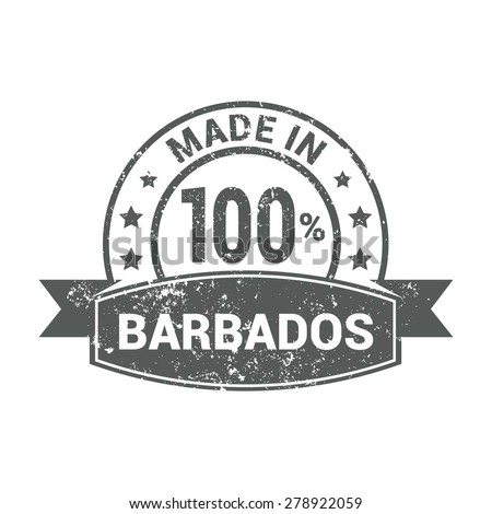 Made in Barbados - Round gray grunge rubber stamp design isolated on white background. vector illustration vintage texture. - stock vector