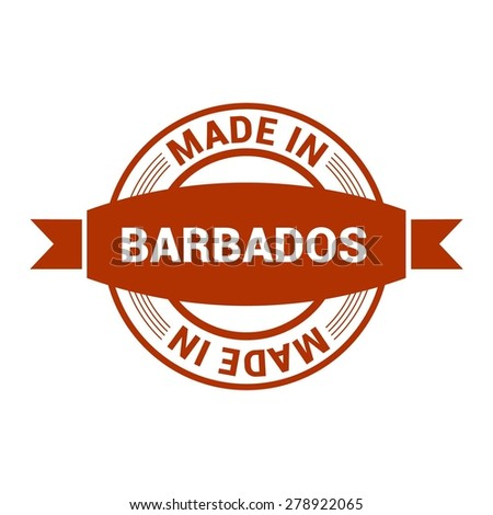 Made in Barbados - Round red rubber stamp design isolated on white background. vector illustration vintage texture. - stock vector