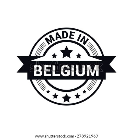 Made in Belgium - Round black rubber stamp design isolated on white background. vector illustration vintage texture. - stock vector