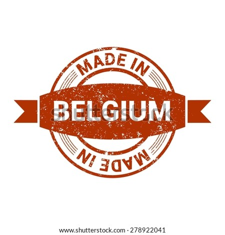 Made in Belgium - Round red grunge rubber stamp design isolated on white background. vector illustration vintage texture. - stock vector