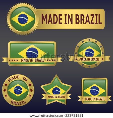 made in Brazil labels and stickers. Vector illustration. - stock vector