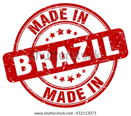 made in Brazil red round vintage stamp.Brazil stamp.Brazil seal.Brazil tag.Brazil.Brazil sign.Brazil.Brazil label.stamp.made.in.made in.