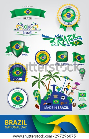 Made in Brazil Seal, Brazilian Flag, Carnival (Vector Art) - stock vector