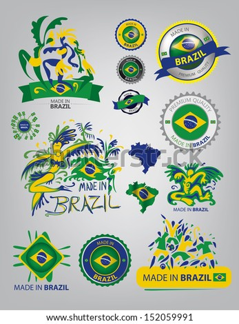 Made in Brazil, seals, flags, carnival, Dance, (Vector Art) - stock vector