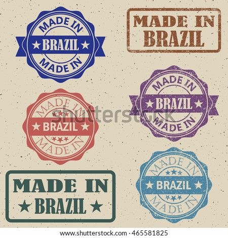 Made in Brazil set of stamps vector illustration.