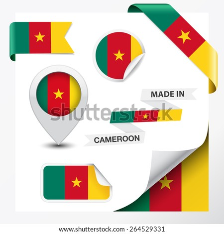 Made in Cameroon collection of ribbon, label, stickers, pointer, badge, icon and page curl with Cameroonian flag symbol on design element, vector EPS 10 illustration. - stock vector