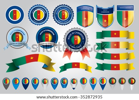Made in Cameroon Seal, Cameroon Flag (Vector Art)