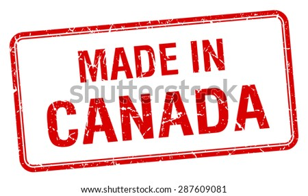 made in Canada red square isolated stamp - stock vector