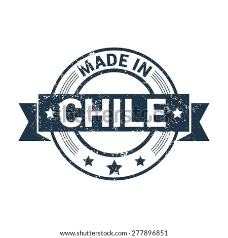 Made in Chile - Round blue grunge rubber stamp design isolated on white background. vector illustration vintage texture.