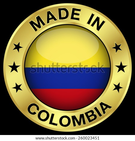 Made in Colombia gold badge and icon with central glossy Colombian flag symbol and stars. Vector EPS 10 illustration isolated on black background. - stock vector
