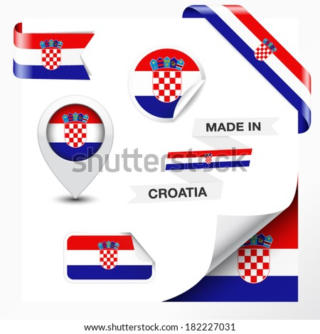 Made in Croatia collection of ribbon, label, stickers, pointer, badge, icon and page curl with Croatian flag symbol on design element. Vector EPS 10 illustration isolated on white background. - stock vector