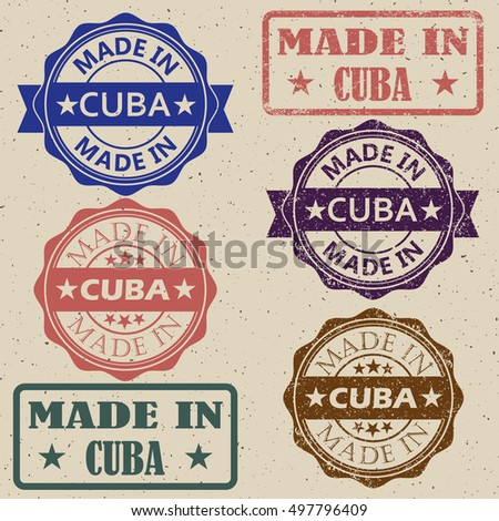 made in Cuba vintage stamp Set vector illustration.