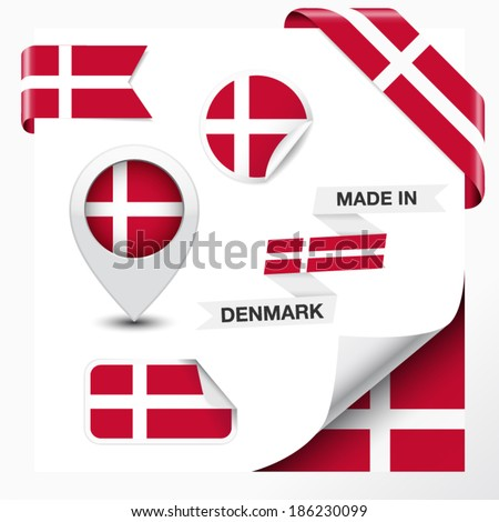 Made in Denmark collection of ribbon, label, stickers, pointer, badge, icon and page curl with Danish flag symbol on design element. Vector EPS 10 illustration isolated on white background. - stock vector