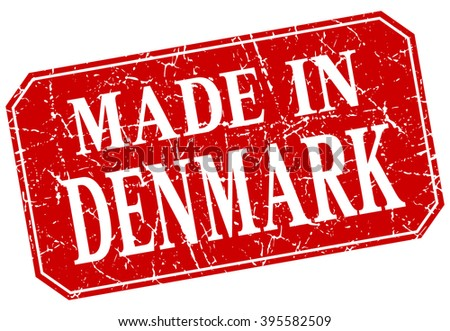 made in Denmark red square grunge stamp