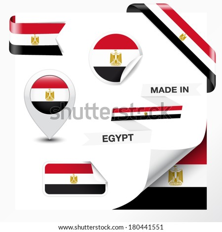 Made in Egypt collection of ribbon, label, stickers, pointer, badge, icon and page curl with Egyptian flag symbol on design element. Vector EPS 10 illustration isolated on white background. - stock vector