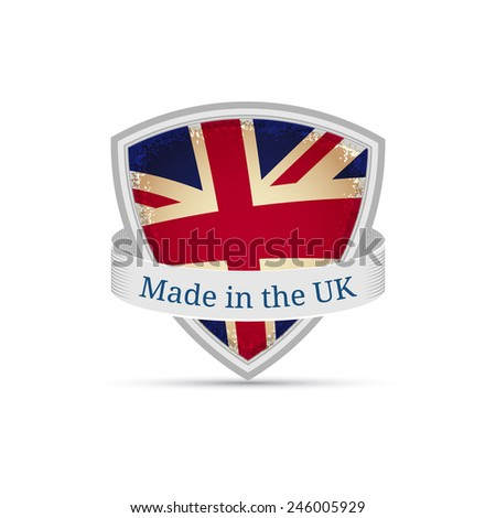 Made in England England flag on the shield, isolated on white background - stock vector