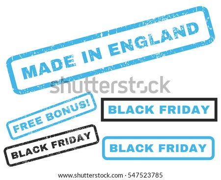 Made In England rubber seal stamp watermark with additional banners for Black Friday offers. Vector blue and gray emblems. Caption inside rectangular shape with grunge design and dust texture.