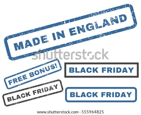 Made In England rubber seal stamp watermark with additional banners for Black Friday offers. Vector cobalt and gray signs. Text inside rectangular banner with grunge design and scratched texture.