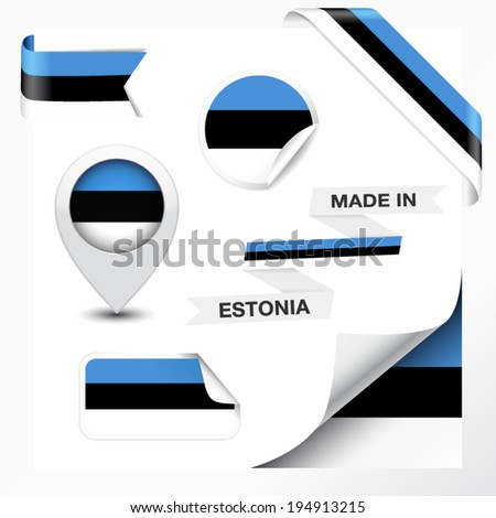 Made in Estonia collection of ribbon, label, stickers, pointer, badge, icon and page curl with Estonian flag symbol on design element. Vector EPS 10 illustration isolated on white background. - stock vector