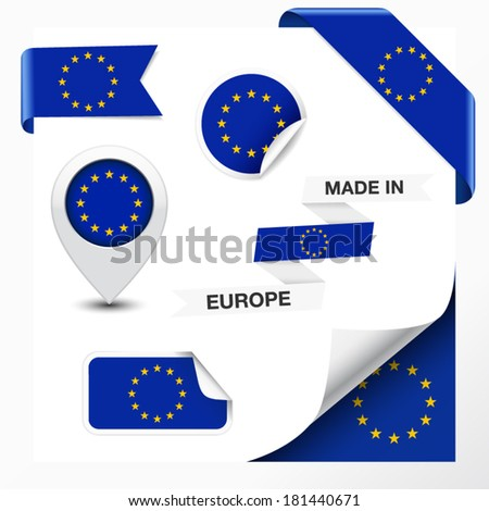 Made in Europe collection of ribbon, label, stickers, pointer, icon and page curl with EU flag symbol on design element. Vector EPS 10 illustration isolated on white background. - stock vector