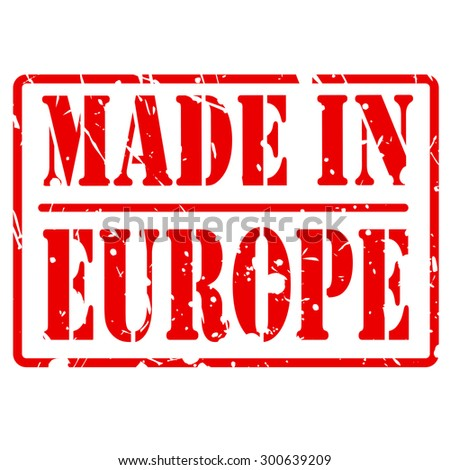 Made in europe red stamp text on white
