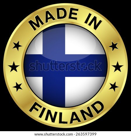 Made in Finland gold badge and icon with central glossy Finnish flag symbol and stars. Vector EPS 10 illustration isolated on black background. - stock vector