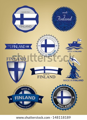 Made in Finland, Seals, Flags - stock vector