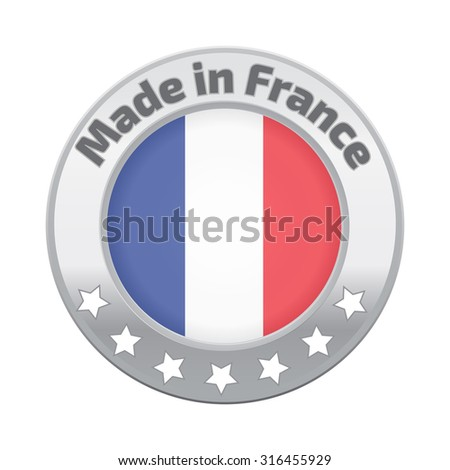 Made in France badge silver